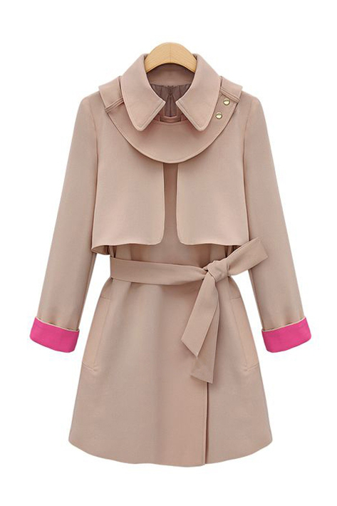Goodnight Macaroon Pink Trim Trench