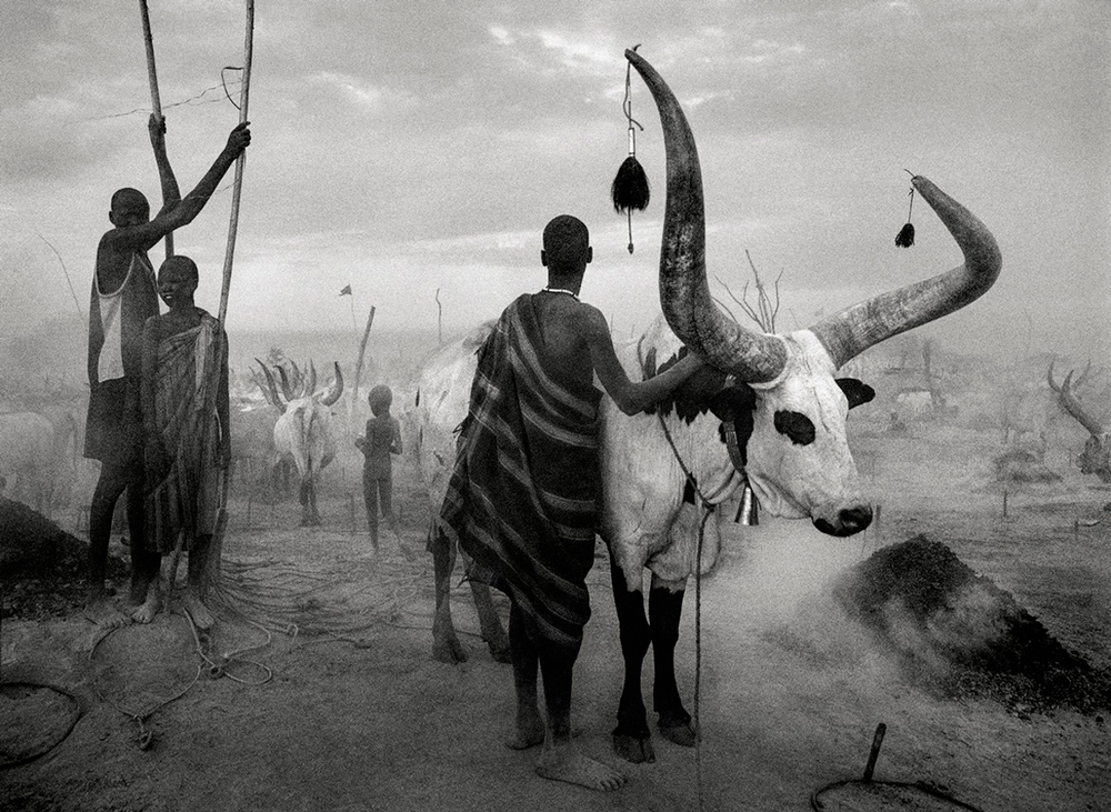 Dinka group at Pagarau cattle camp, Southern Sudan, Africa, 2006   24 x 35 inches  Gelatin silver print
