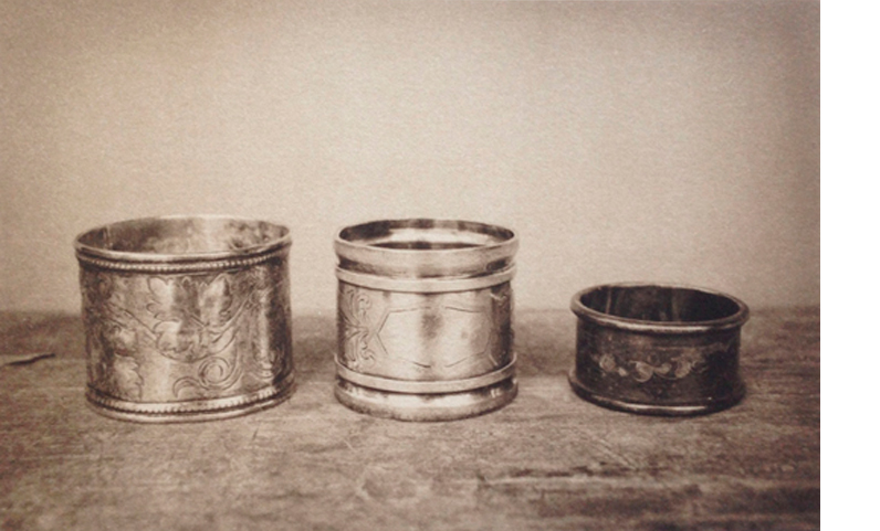 LISA BLAIR  Mary Belle's Napkin Rings   7 x 9.5 inches framed  Platinum / Palladium print, edition 5