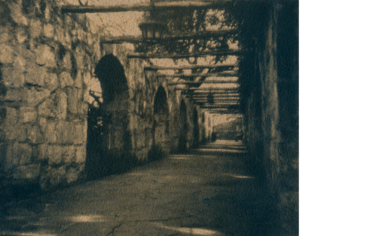 ERIN MALONE  Walkway at the Alamo   6 x 7.5 inches  Tea toned Gum over Cyanotype on Arches Hot Press paper