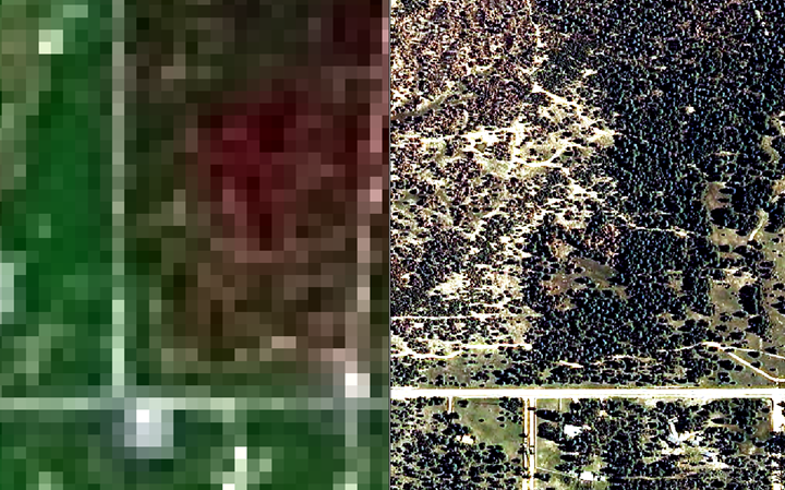 Comparison of pan-sharpened multi-spectral Landsat 8 imagery 30x30m pixels (left) with orthographic aerial photography (right) from Remote Sensing presentation on the use of a normalized burn ratio methods for measuring wildfire burn severity