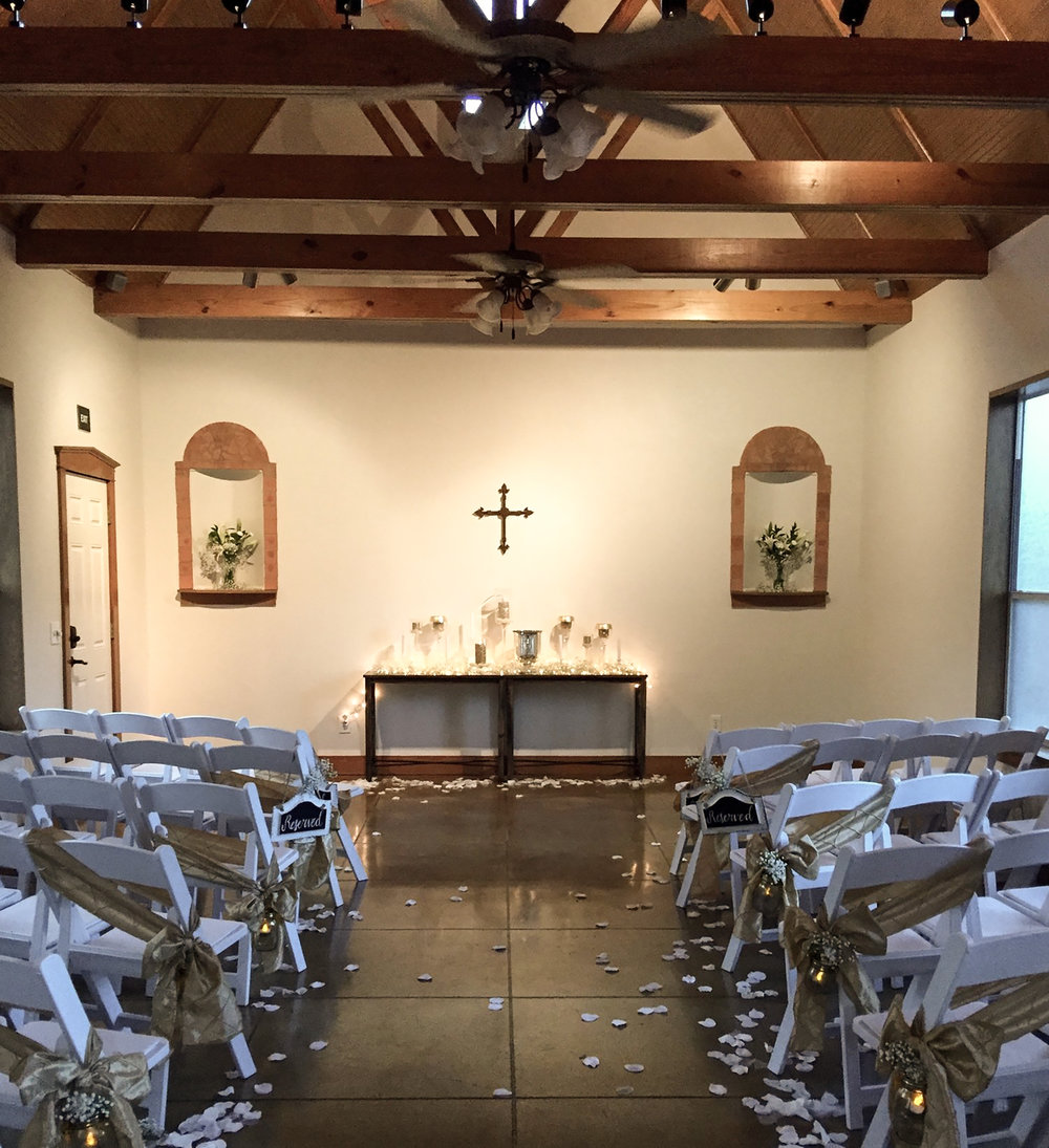 The Little Wren Chapel can seat 60 guests - a cozy 60!
