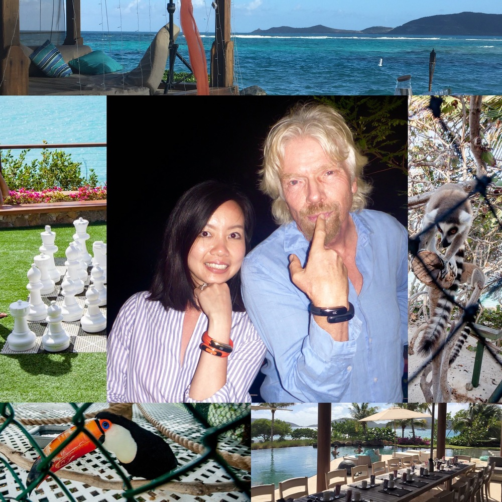 Ashley Chloe's CEO, Angela Pan, with Sir Richard Branson on Necker Island