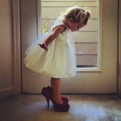 Little Girl in Mom Heels