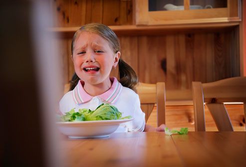 Girl Crying at Dinner Table