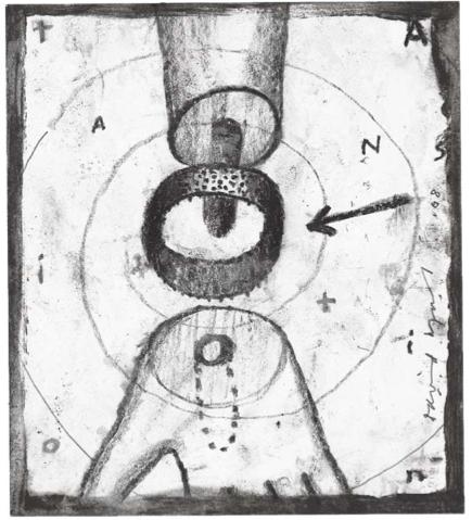 T.R.A.N.S.I.T.I.O.N. Fusain et crayon sur papier, 18 x 16 cm, 2008