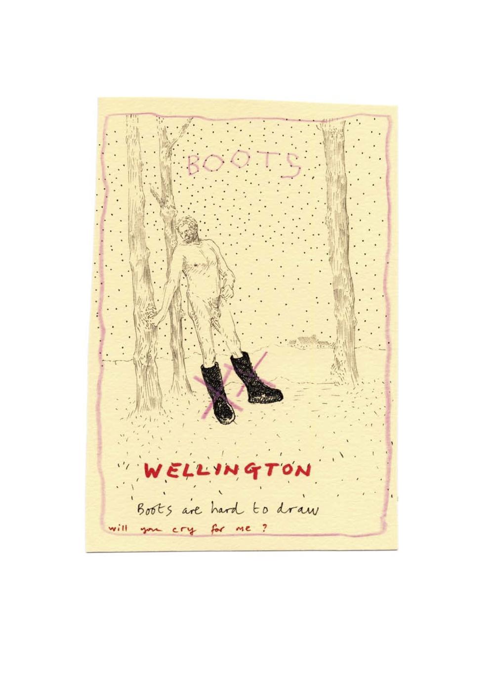 Les bottes Wellington sont difficiles à dessiner. Pleureras-tu pour moi?