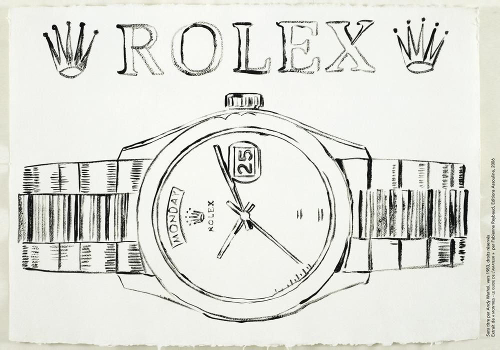 Sans titre par Andy Warhol, vers 1983, droits réservés Extrait de « MONTRES - LE GUIDE DE L'AMATEUR » par Fabienne Reybaud, Editions Assouline, 2006