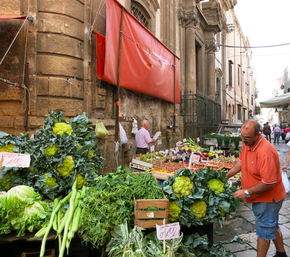 Broccoli the size of your head, as seen in the ancient winding streets of Palermo. © 2014 Gail Jessen