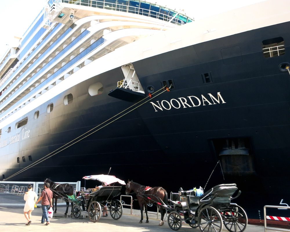 The Noordam docked alongside Palermo's ever-present horse carriages. If you can make it to the end of the pier without being approached by six different operators, you're a miracle worker. © 2014 Gail Jessen