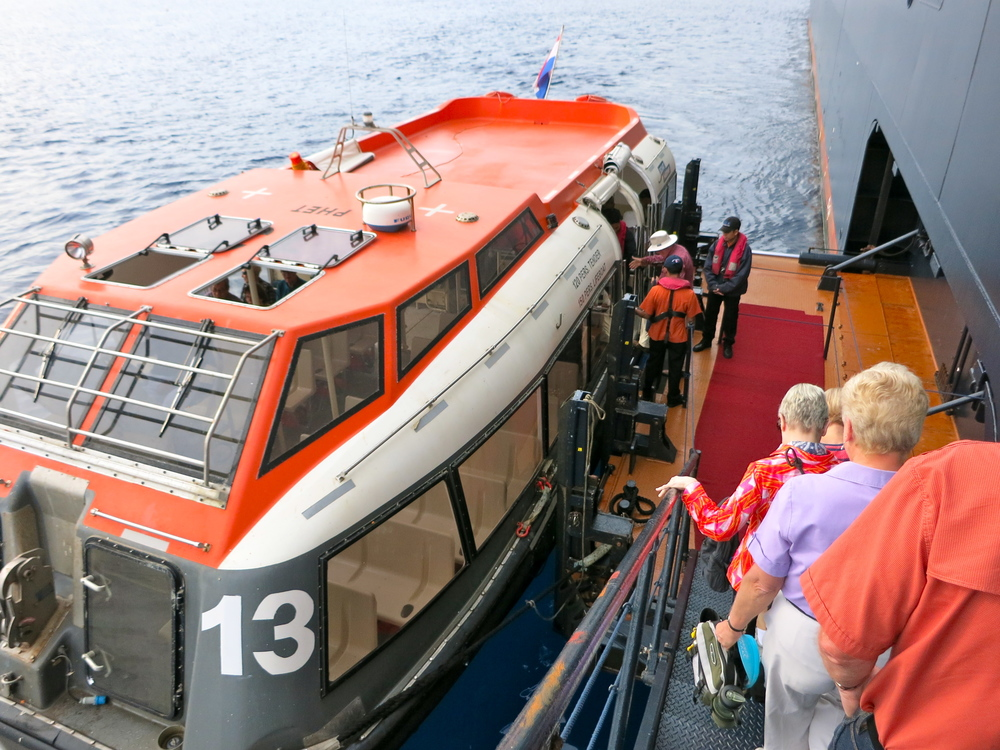 The Noordam crew joked with passengers that the real reason we tender is to test the lifeboats. © 2014 Gail Jessen