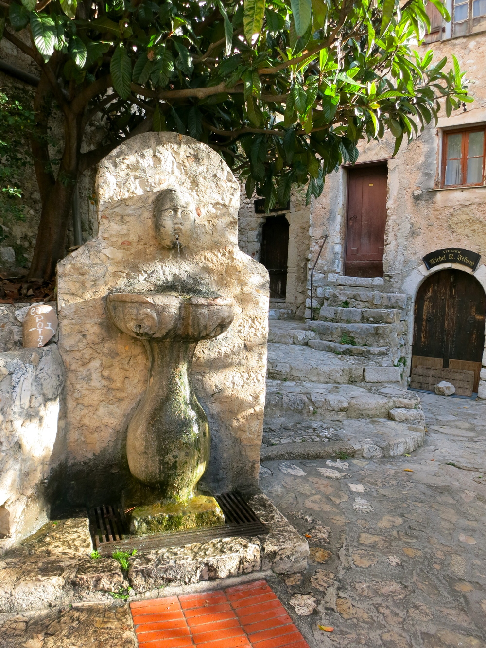 This fountain in the market square was the only source of water in medieval Eze. The square itself was no bigger than 12' by 12' in total. © 2014 Gail Jessen