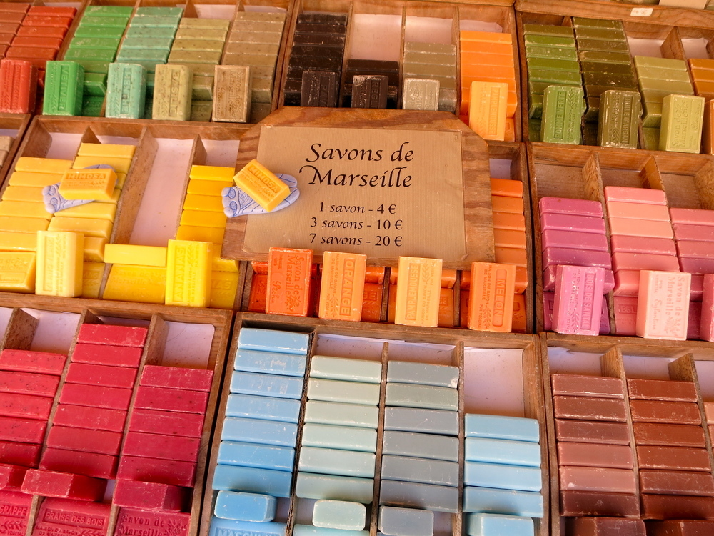 I purchased (too) many bars of soap, each made from Provencal ingredients: olive oil, honey, and lavender. © 2014 Gail Jessen