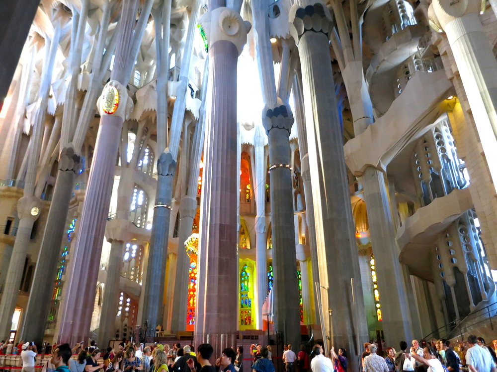 The scale of the cathedral is mind blowing. Visitors wander around slowly with their heads thrown back, bumping into each other, smiling, and going right back to staring at the ceiling. © 2014 Gail Jessen