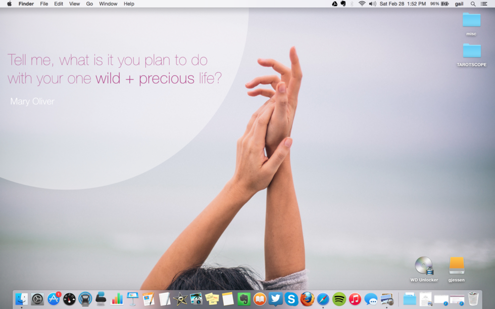 I chose the Mary Oliver quote for my desktop. I put the Kerouac quote as my phone wallpaper.
