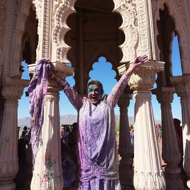 "Ginger ended a 21-year marriage in September 2014. In January she attended one of my group workshops seeking clarity, permission, and freedom for her new life. In March she joined me and fellow alumni at the Holi Festival. She wore her wedding dress and we ""blessed the mess."" Ginger's first Core Desired Feeling is BRAVE...nailed it."