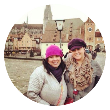 Exploring Regensburg, Germany with Kris (left)