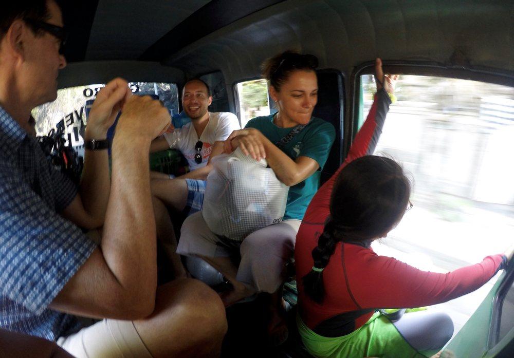 No seats. No door. No problem. A snorkeling we will go! (c) 2015 Gail Jessen, A Series of Adventures