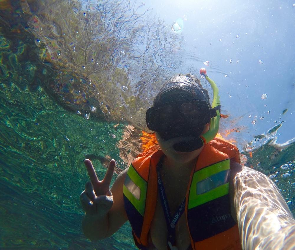 Snorkel selfie off the coast of Nusa Penida. Naturally. Also, can anyone ever look cute in these snorkel pics? (c) 2015 Gail Jessen, A Series of Adventures