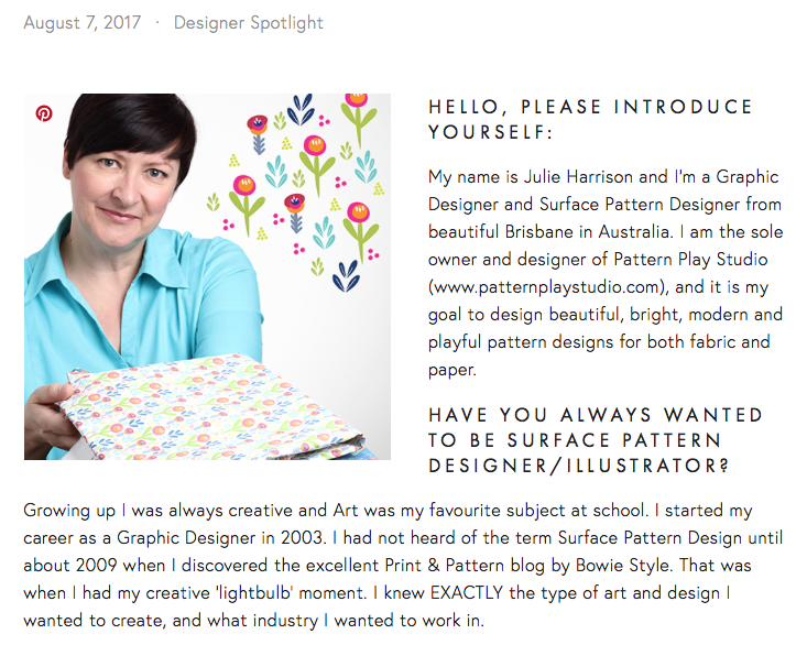 Surface pattern designer interview with Rise, Design and Shine.