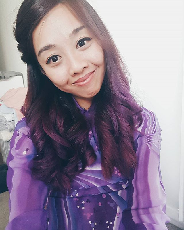 I'm really loving this purple, thanks @hairbyamaya ! Also, wearing an Ao Dai for Nat and Nathans Vietnamese wedding Ceremony today. Disclaimer: I may not look this nice in real life 🙂