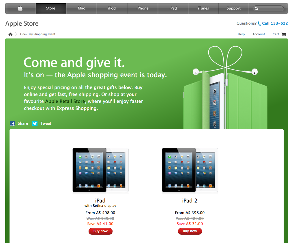 Apple One Day Shopping Event - Black Friday