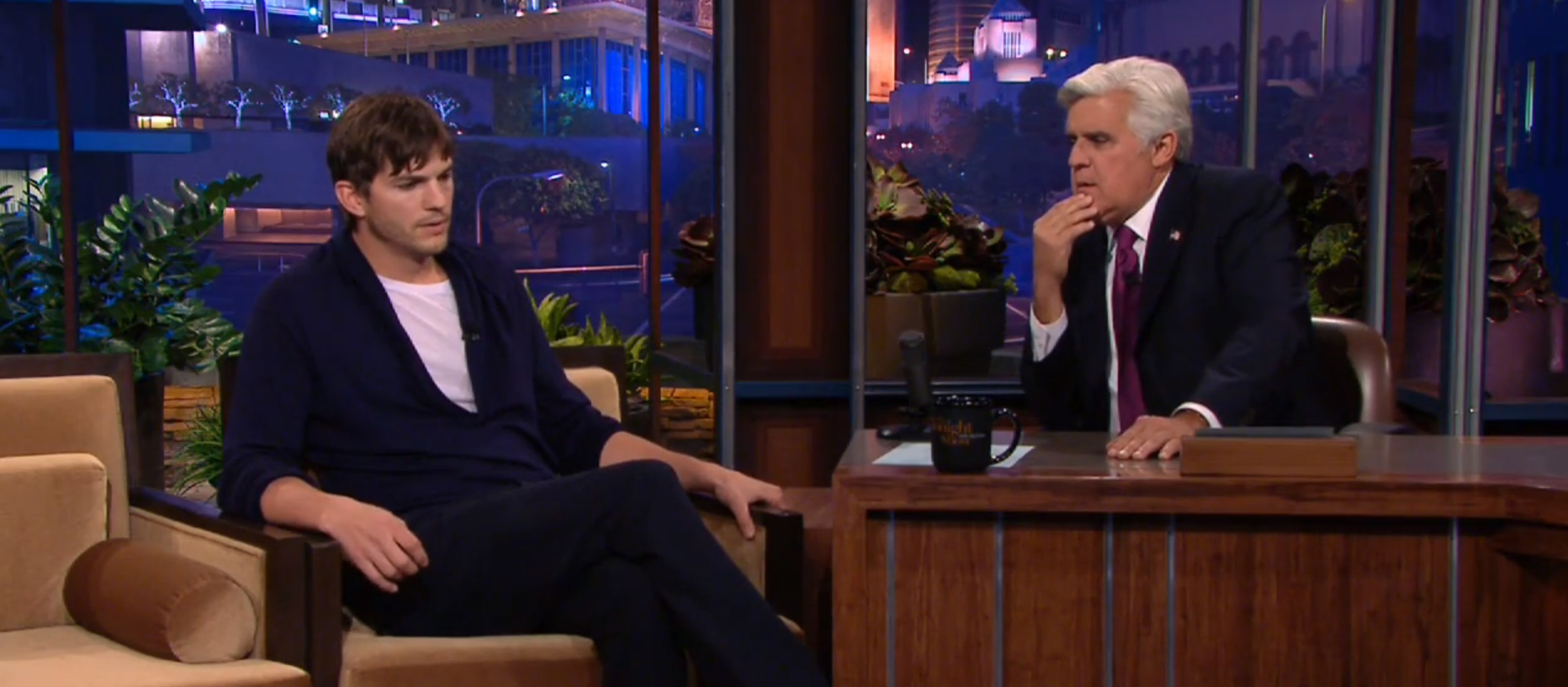 Ashotn Kutcher with Jay Leno