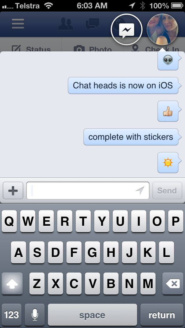 Facebook iPhone App with Chatheads