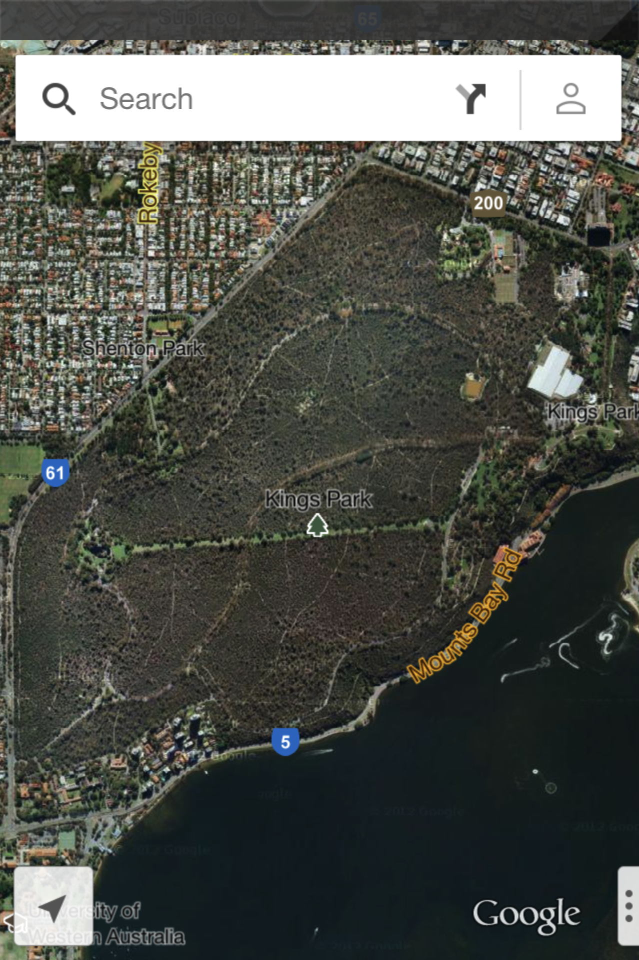 Kings Park Perth from the Google Maps App
