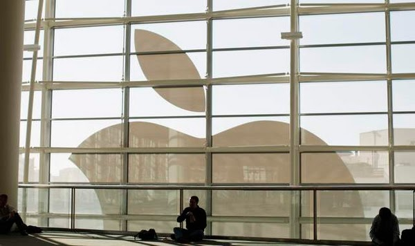 Large Apple Logo on window
