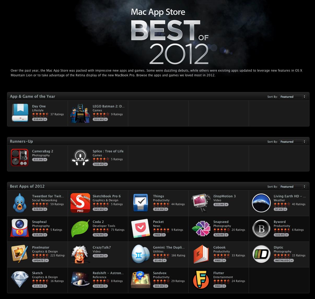 applegoss com - Apple releases the Mac App Store's Best of 2012