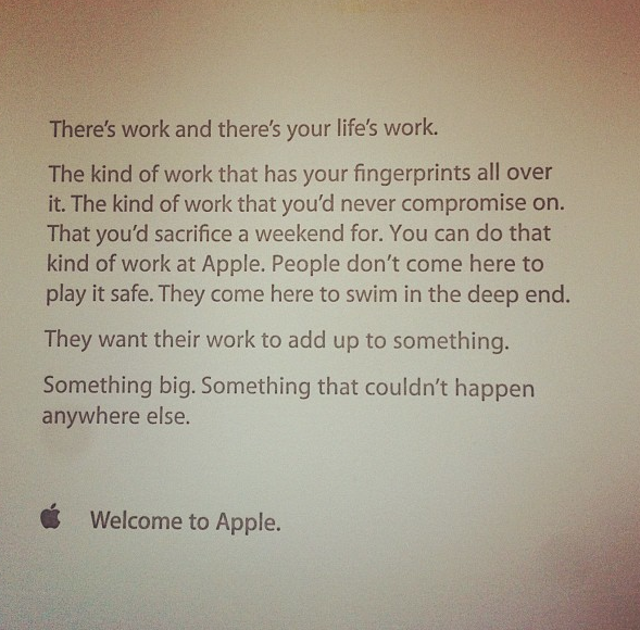 Memo that Apple greats their employees with on their first day of work