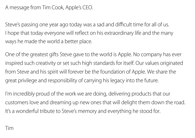 Message from Tim Cook remembering Steve Jobs 1 year after his passing