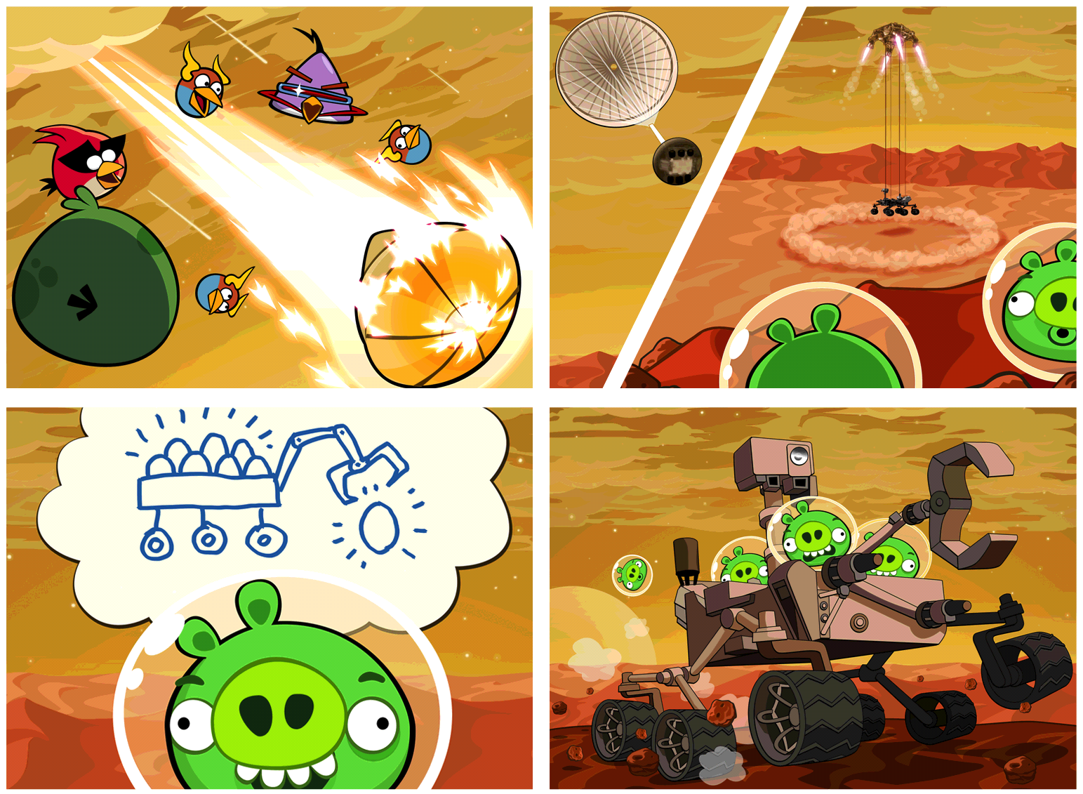 Rovia Angry Birds Space with Mars Rover Curiosity COntent