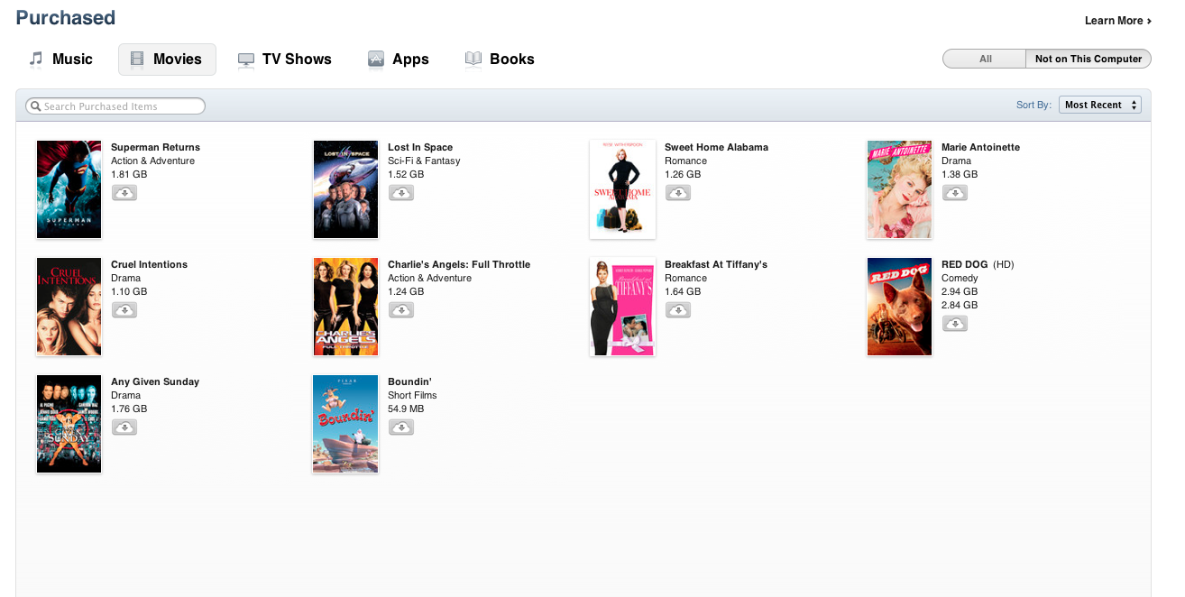 iTunes in the cloud now includes movies or Australia