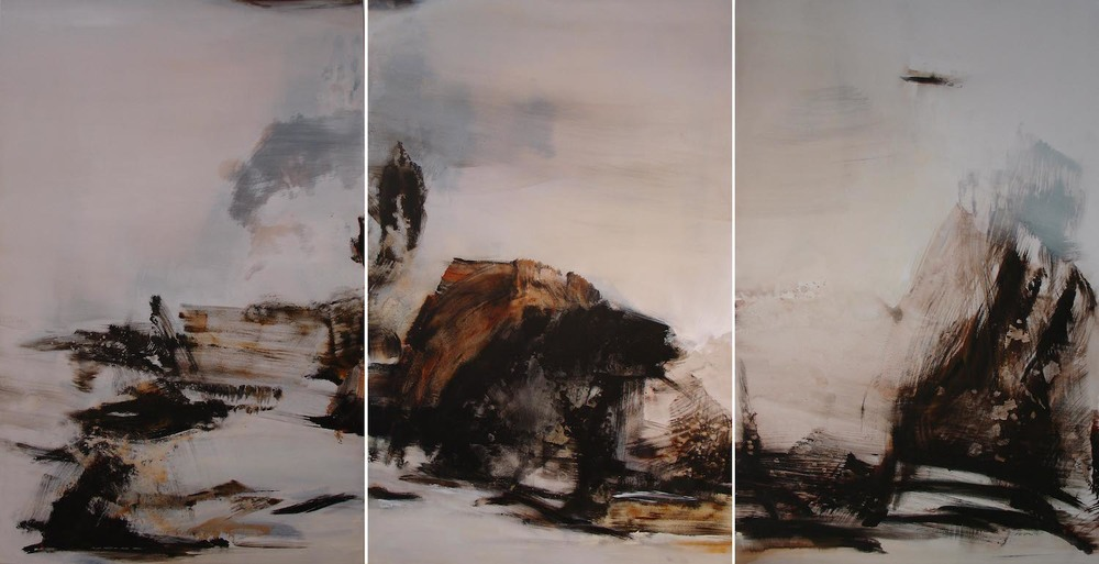 When White Turns to Gold (triptych)  , 2009, acrylic on canvas, 170 x 110cm (each)