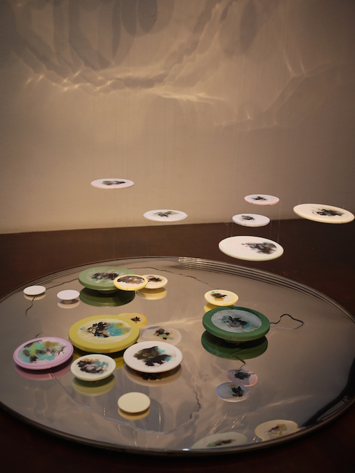 Inked Drop  , 2010, Chinese ink and acrylic on rice paper and wood, dimensions variable