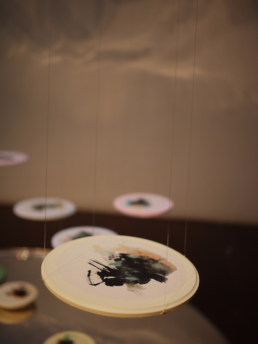 Inked Drop  (detail) , 2010, Chinese ink and acrylic on rice paper and wood, dimensions variable
