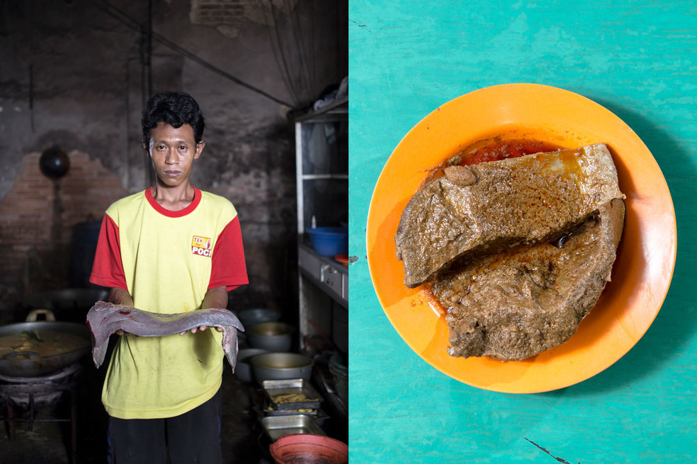 Agus Waluyo, 35. Bumi Ayu, Central Java    Nasi Kapau Sabana-Bana, Kramat, Central Jakarta. Working in a popular restaurant in the 70s in Kramat area, Senen, Central Jakarta, did not make this skinny man feel inferior. His determination to live a migrant life stunned Haji Bainar, the owner of the restaurant who comes from Bukittinggi, West Sumatra. For the sake of chef regeneration, recipes for signature menus of nasi kapau were passed down to Agus, although the owner has two daughters with a cooking skill .