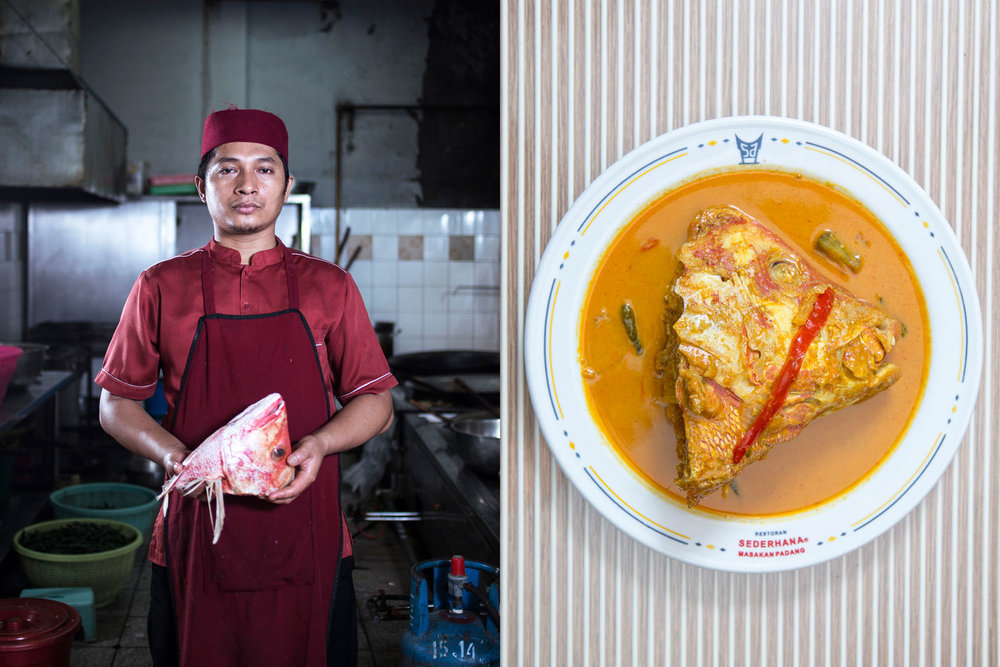 Anton Budiman, 34, Lintau, West Sumatra.     Sederhana Restaurant, Kebon Kacang. Working as a chef is not a popular job to most Minangkabau men. Even, some consider this as something taboo since kitchen work is associated with mothers' task. A tradition of 'lalok di surau' (staying in a mosque), aiming at making Minangkabau males independent since their young age, has led Anton to pursue learning the skill of making tasty food. The young Anton once travelled as far as several cities in Central Java in mid 2000 to improve his cooking skill.