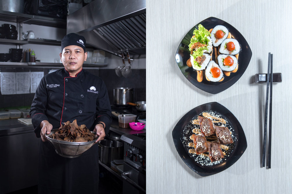 M. Lutfi Abadi, 35, Surabaya, East Java.     Suntiang Resto, Grand Indonesia Mall After years of work in various hotels and restaurants, Chef Lutfi finally accepted an offer to be a chef in a Japanese style Minang Restaurant. Lufti is keen to explore and invent the taste and food presentation through the acculturation and fusion of the two different types of food and presentation styles.