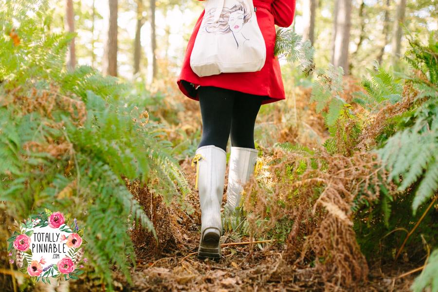 totally pinnable rowney warren woodland autumn collecting pine cones hunter wellies