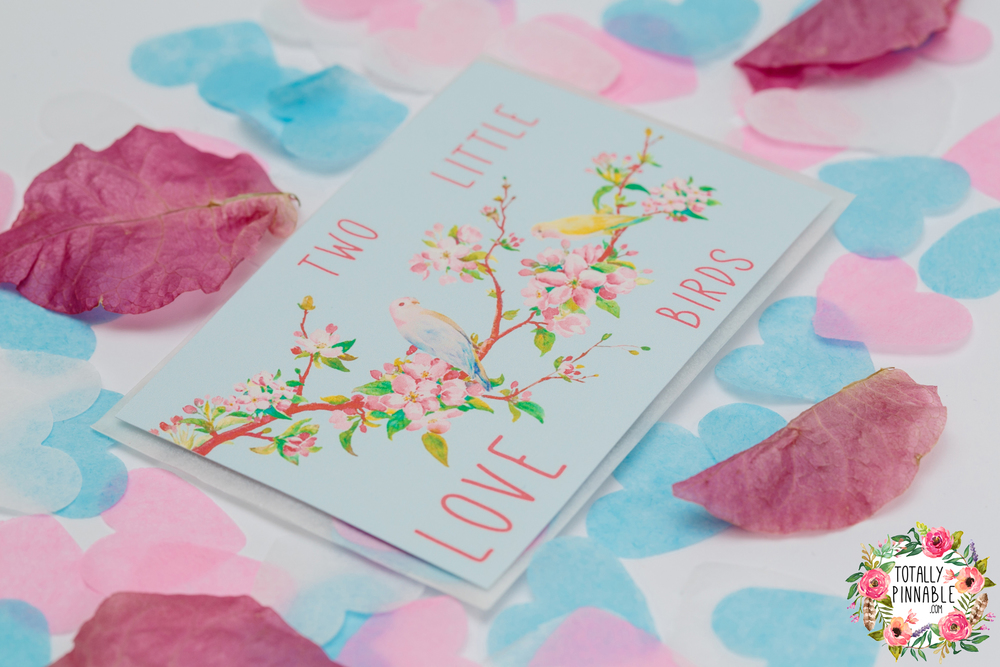 love birds confetti filled envelope with real bougainvillaea petals by totallypinnable.com
