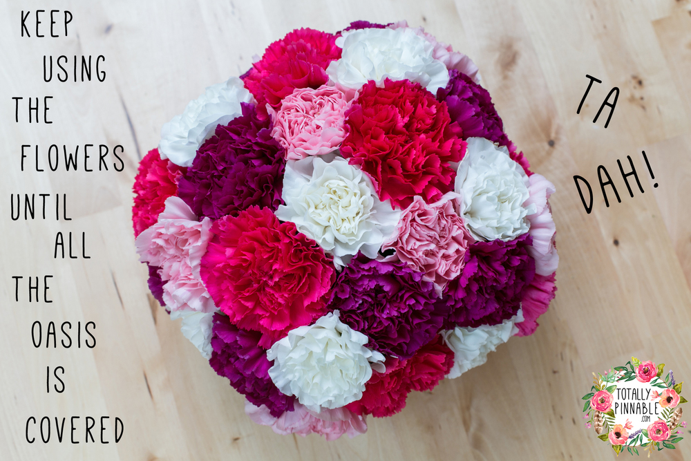 DIY carnation flower centre piece by Totallypinnable.com
