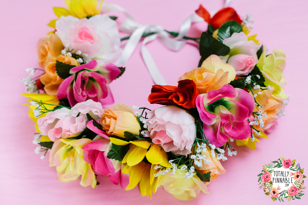 www.totallypinnable.com flower crown for a bride to be, festival bride, fake flowers. On sale now in my shop!