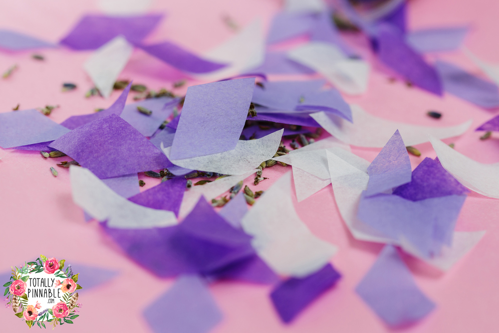 www.totallypinnable.com real lavender filled confetti pop with large, slow flutter confetti, all hand cut by me. Drop me an email for custom labels for your wedding!