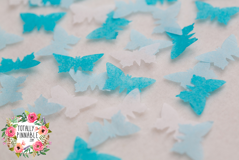 www.totallypinnable.com new butterfly wedding confetti blue ombre tones or pure white. eco friendly, biodegradable and hand made.