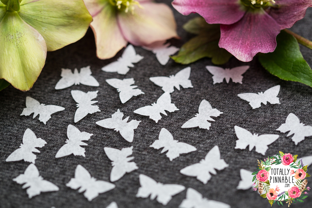 www.totalypinnable.com pure white wedding confetti in butterfly shape. Eco friendly, hand cut and biodegradable.