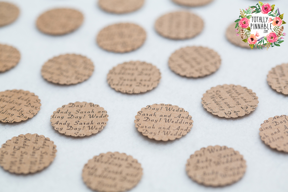 www.totallypinnable.com personalised table confetti perfect for your wedding or party