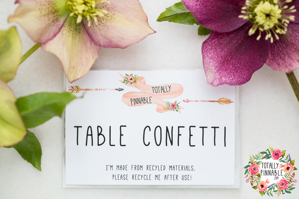 www.totallypinnable.com personalised table confetti for your wedding or party!